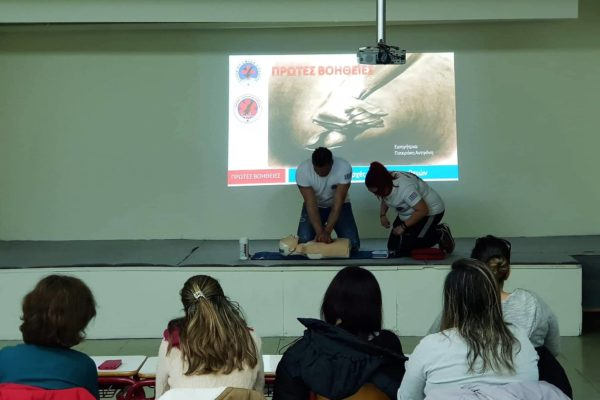 First aid training for local lesvos school students at Plomari