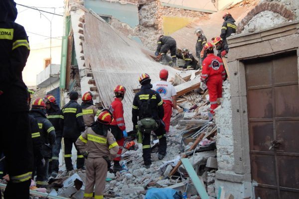 Hellenic rescue team respond to an earthquake at Vrisa