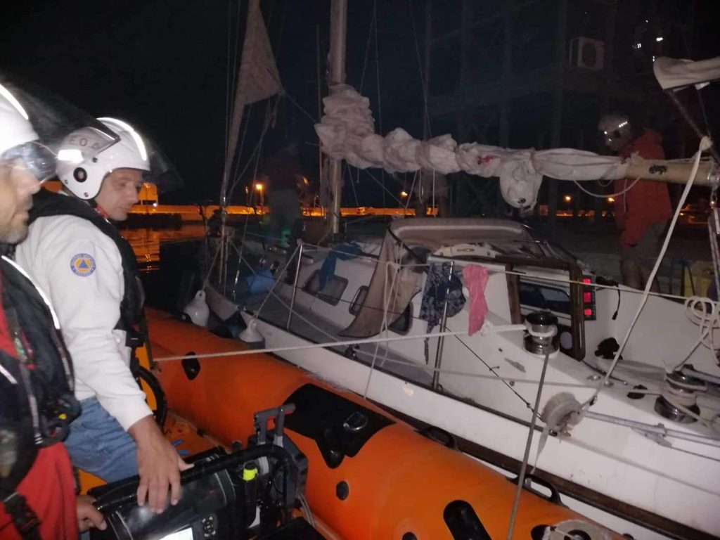hellenic rescue team assists yacht in distress, tows four people to shore